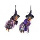Hexe aus Poly, fliegend, 20 cm mit lila Kleid