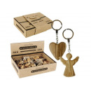 Keychain angel & heart made of olive wood