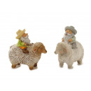 Poly Farmer sitting on sheep, 7x3x8cm