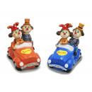groothandel Woondecoratie: Clownpaar in de auto gemaakt van poly 9x15x14cm