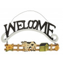 wholesale Decoration: Decoration 'Welcome' made of wood, 30 cm