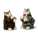 Decoration cat with artificial fur, 16 cm