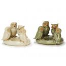 Tealight Holder Owls of porcelain, 12 cm