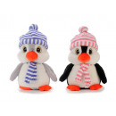 Penguin in plush with hat and scarf, 35 cm