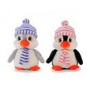 Pingwin w pluszu z czapką i szalem, 35 cm