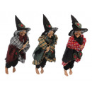 Witch made of poly, flying, 28 cm