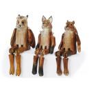 Kantenhocker dieren uit massief hout, 21 cm