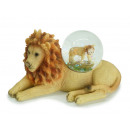 Lion with Lion Glitter ball made of poly, 12 x 6 x