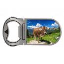 Metal magnet bottle opener cow on alpine pasture,