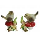 Bird sitting on mushroom with gnome of poly, 6x9