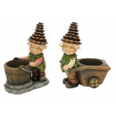 wholesale Figures & Sculptures: Pine cones Wichtel with plant pot made of poly, 15