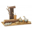 Fountain with wooden geese, 14 x 19 cm