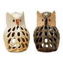 Windlight owl from porcelain, 20 cm