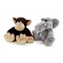 Monkey + elephant in plush, 40 cm