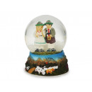 wholesale Snow Globes: Glitter ball Bavaria pair with base of poly, 9 cm