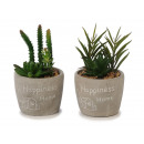 Ceramic pot with artificial plants