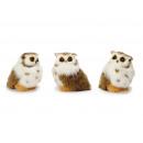 Decoration owl with artificial fur, 13 cm