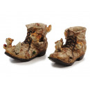 wholesale Garden & DIY store: Shoe with squirrel made of poly 13 x 5 x 8 cm
