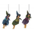 Witch made of poly, flying, 12 cm
