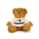 Bear in plush with white sweater, 15 cm