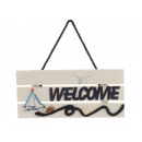 'Welcome' sign made of wood 24x2x10cm