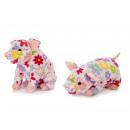 Großhandel Spielwaren: Schwein aus Plüsch mit bunten Blumen, 12x31x14cm