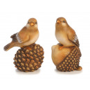 groothandel Tuin & Doe het zelf: Keramiek vogel op bosvruchten 11x7x15cm