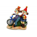 Clown couple on bike made of poly 13.5x6x15.5cm