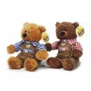 Großhandel Spielwaren: Trachtenbär aus Plüsch, 17 cm mit kariertem Hemd