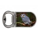 Metal magnet bottle opener owl, 4x9cm