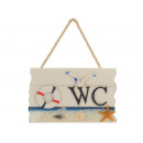 Sign with writing 'WC' made of wood 18x1x1