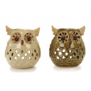 Windlight owl ceramic, 15 cm