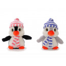 Penguin from plush with cap and scarf, 20 cm