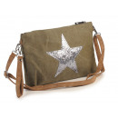 wholesale Bags & Travel accessories: Handbag beige with glitter star 30 x 5 x 20 cm