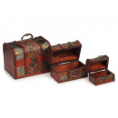 Wooden treasure chest, set of 3, 16 x 12 x 12 cm