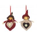 ingrosso Decorazioni: tessuto cuore Alpin con la testa Poly Imp, 17 cm