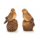 Großhandel Garten & Baumarkt: Vogel aus Keramik auf Waldfrüchten 9x6x12cm
