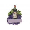 Red wine bottle magnet made of poly, 7x1x6cm