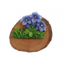 Magnet wooden disc with gentian of poly, 7 x 9 cm
