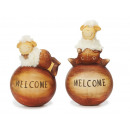 Sheep on 'Welcome' ball made of ceramic, 1