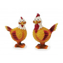 Cock and hen made of poly, 8 and 9 cm