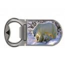 Metal magnetic bottle opener polar bear, 4x9cm