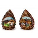 Pine cone with house made of poly, 9 cm