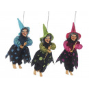 Witch made of poly, flying, 25 cm