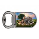 Metal magnet bottle opener wild animals, 4x9cm