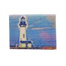 Canvas lighthouse blue on wooden frame