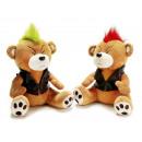 Großhandel Spielwaren: Funny Bär 'Punker' aus Plüsch, 25 cm