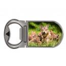 Metalen magneet flesopener wolf pack, 4x9cm