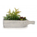 Ceramic bottle with artificial plants, 30 cm
