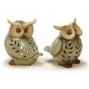 Windlight owl ceramic, 16 cm